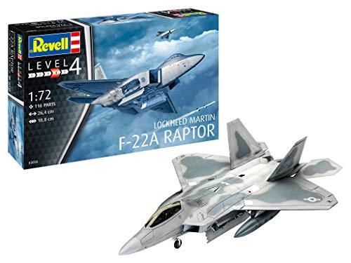 Revell- Lockheed Martin F-22A Raptor, Fmaquette Avion 1:72, 26,4 cm Maquette, 03858, Multicolor