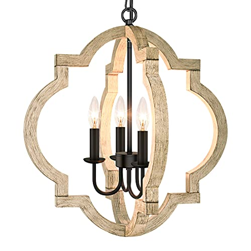 4-Light Farmhouse Chandelier Ceiling Light, Rustic Wood Hanging Light Orb Pendant Chandelier With Adjustable Hanging Chain, Vintage Chandelier For Dining Room Kitchen Foyer Hallway(Bulbs Not Included)