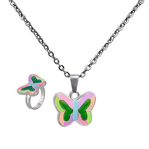 Farbwechsel-Schmuck-Set: Stimmungskette Anhänger Halskette + Stimmungsring - Schmetterling