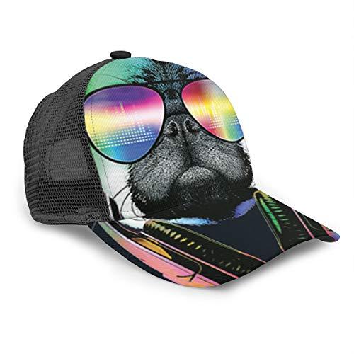 Zhgrong DJ Pug con Gafas de Sol 3D Bucket Hat Sun Hat Protección UV Gorra de Senderismo al Aire Libre