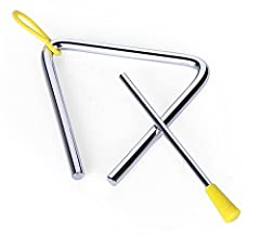 Instrument music triangle 5 inch High quality steel, yellow rubber hanger, durable and sturdy With a striker coated with plastic Superior and vibrant sound quality Great for early childhood / music / rhythm sets