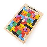 Flybiz Holzpuzzles Tetris Puzzlespiel Burr Tangram Stichsäge Spielzeug Pädagogisches Spiel (40...