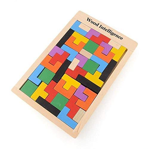 Flybiz 40 Pezzi Puzzle Tetris in Legno Blocchi, Rompicapo Giocattolo per Bambini, Scatola di Puzzle Giochi del Cervello Tangram in Legno Giocattoli educativi Regalo Intelligenza Colorata Tangram Toy