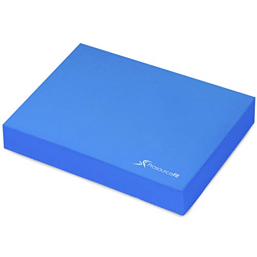 """ProsourceFit Exercise Balance Pad, Non-Slip Cushioned Foam Mat & Knee Pad for Fitness and Stability Training, Yoga, Physical Therapy 15"""" x 12"""", Blue"""