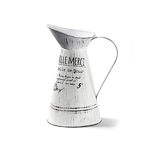 Hwtcjx Rústico Flor del Metal Vas, Lata del Cubo Retro, 1 pieza Decorativa rústica Jarra Jarrón, Jarrone decorativo de estilo retro, fuertes y duraderos, para jardine, hogare (12 x 9.5 x 22cm, blanco)