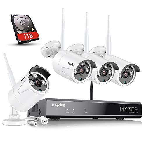 SANNCE Kit de Vigilancia WiFi 8CH 1080P NVR con 1TB Disco Duro Instalado y CCTV 4 1080P Cámaras Videovigilancia Inalámbrica Sistema de Segiridad Acceso Remoto -1TB HDD