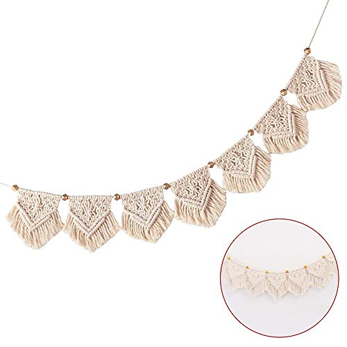 AILANDA Macrame Wall Hanging Woven Wall Handmade Woven Wall Hanging Fringe Garland Banner Chic Bohemian Wall Décor Apartment Bedroom Living Room Home Decoration,15 × 20cm