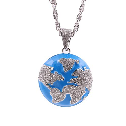 Kingwo Hip Hop Men's Pendant Necklace,With Zinc Alloy Clavicle Chain, Engraved World Map Globe Jewelry Gift For Men(Silver)
