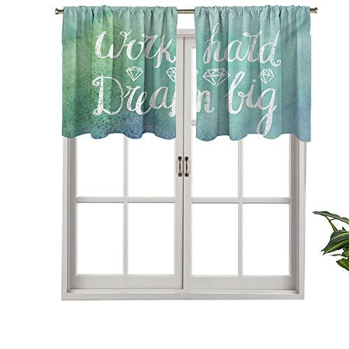 """Hiiiman Cenefas de cortina opacas con bolsillo para barra cortas, paneles de cortina estilo tiza con texto en inglés """"Hard Dream Big Message"""", juego de 2, 137 x 91 cm para cocina y baño"""