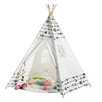Teepee Tent for Girls Natural Cotton Canvas Teepee Indian Play Tent with Carry Case Foldable Indoor Playing House for 1 2 3 Year Old Kids Boys Girls