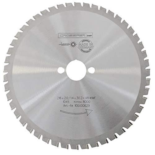 CROSSFER HM Kreissägeblatt 216 x 30 mm Z48 Multifunktionssägeblatt für Metall Kunststoff Spanplatten Laminat Hartmetall bestückt für Kreissägen