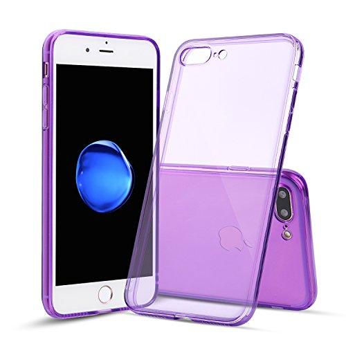 Capa Shamo's para iPhone 7 Plus e iPhone 8 Plus com absorção de choque, gel de borracha de TPU transparente com tecnologia livre de manchas, capa macia, Roxa