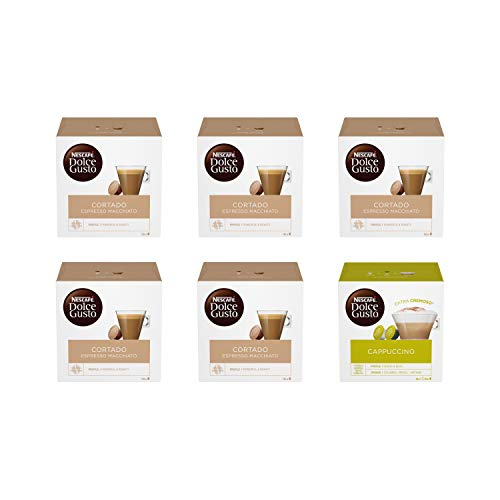 Nescafé Dolce Gusto Cortado Espresso Macchiato 5 Confezioni, Cappuccino 1 Confezione (96 capsule)