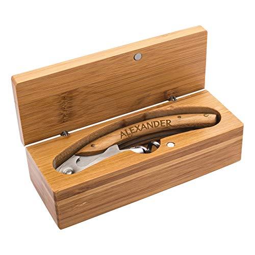 Kellnermesser aus Holz/Metall verpackt in schöner Bambusbox mit persönlicher Namensgravur, Kellnerbesteck, Korkenzieher, Somelierbesteck