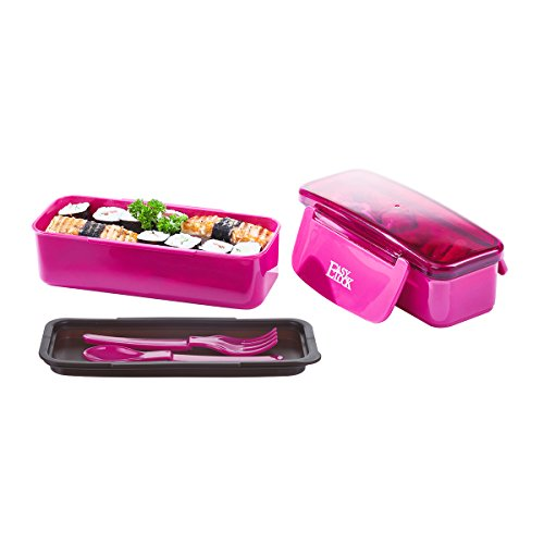 2 Layers Kids Bento Lunch Box Set, All-in-One Stackable Meal Prep Boxes 30.4oz, Microwave BPA-Free Plastic Food Storage Containers with 1 Water Bottle 17.6oz (Rose Red)