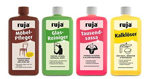 ruja Kombi-Packung | Möbel-Pfleger, Glasreiniger, Tausendsassa und Kalklöser (1 Liter)