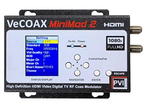VECOAX MINIMOD-2   HDMI TO COAX MODULATOR to distribute your hdmi video sources to all TVs as HD Channels over existing tv coax cables