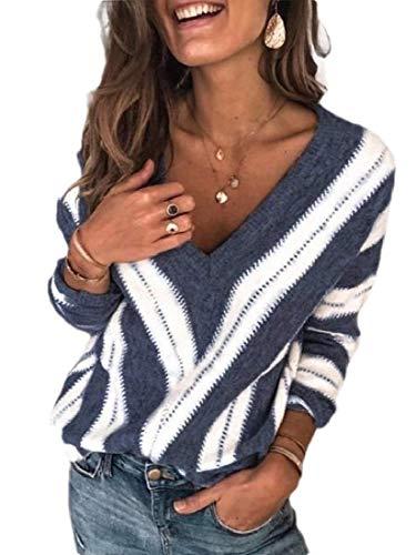 Minetom Sweater Mujer Otoño Invierno Elegante Cuello en V Cuello Redondo Suéter de Manga Larga Blusa de Patchwork Elegante Cálido Tops de Punto Túnica Pullover Suéter A Azul 46