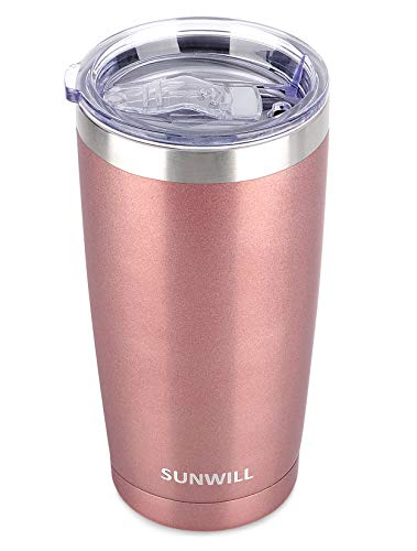 SUNWILL 20oz Tumbler with Lid, Stainless Steel Vacuum Insulated Double Wall Travel Tumbler, Durable Insulated Coffee Mug, Rose Gold, Thermal Cup with Splash Proof Sliding Lid