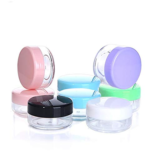 Macetas cosméticas, 18 tarros de plástico para cosméticos de viaje para cremas maquillaje (6 colores)