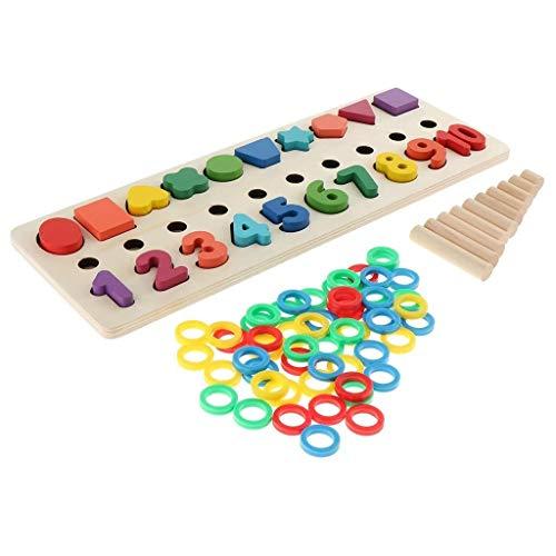 WY-YAN Montessori Matemáticas Bloques de Forma Clasificador de Cuenta del número Juguetes for niños preescolares de Madera de Juguete del Consejo de Educación