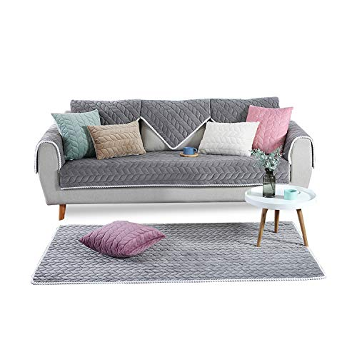 PETCUTE Fundas Sofa Chaise Longue Cubre Sofa Acolchado Fundas para Sofa sin Brazos Antideslizante Gris 90X160cm