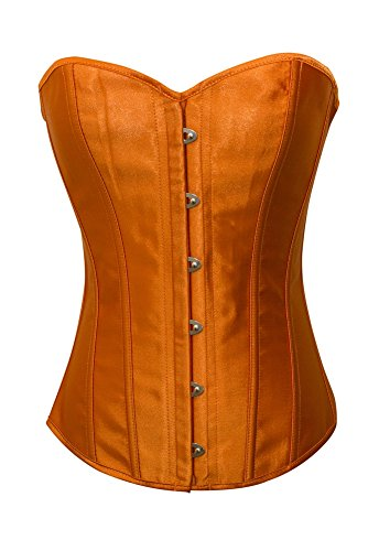 Chicastic Orange Satin Sexy Strong Boned Corset Lace Up Overbust Bustier Bodyshaper Top - 7-8 XL