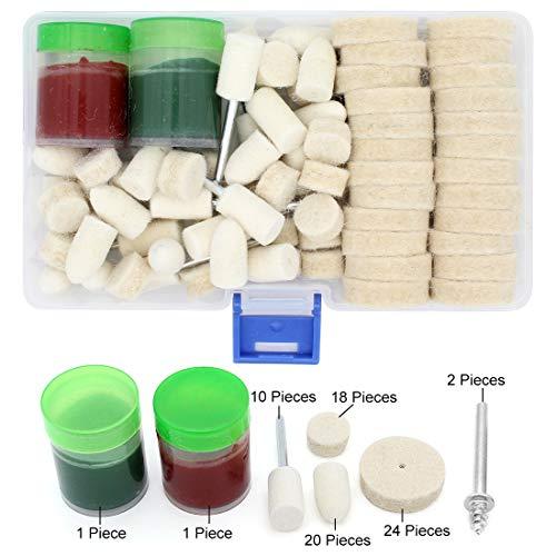 Yuhtech Filz Polieraufsatz Set, 76 Pcs Wolle Polierscheiben Buffer Rad Polierer Kit für Dremel Multifunktionswerkzeug