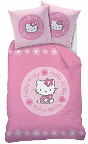 Hello Kitty Candice Roza - Juego de cama (funda nórdica de 140 x 200 cm y funda de almohada de 63 x 63 cm)