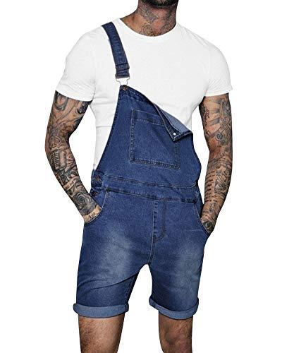 Pantalones Cortos De Mezclilla Peto Vaquero para Hombre Verano Mono Jeans De Trabajo Azul Marino S