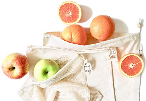 Reusable Produce Bags | Certified Organic Cotton Mesh & Muslin | Zero Waste Natural Food Keeper for Fruit & Vegetable Storage (Set of 7 - Various Sizes (S/M/L))