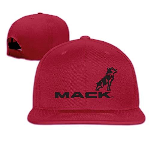 ZaHome Men Mack Trucks A Flat-Brim Cap Adjustable Freestyle Hat Dark Red