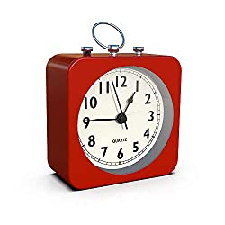 AYRELY Battery Operated Alarm Clock with Square Metal Case,No Ticking Analog Quartz, Simple Operation for Bedroom/Travel/Desk/Kids(Red)