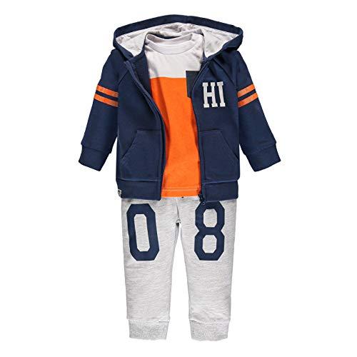 Brums Tuta 3 Pezzi con Felpa, T-Shirt Traje de 3 piezas con sudadera, camiseta y pantalón, bebé, naranja, algodón, 18 meses, Arancione 478, Niños