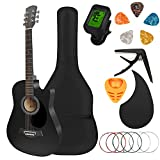 Karbart 38in Acoustic Guitar Kit with Case for Student Girls Boys Adult with 5 Pcs Guitar Picks,Guitar Tuner,Guitar Bag,Guitar Strap,Guitar Strings,Guitar Accessories Package