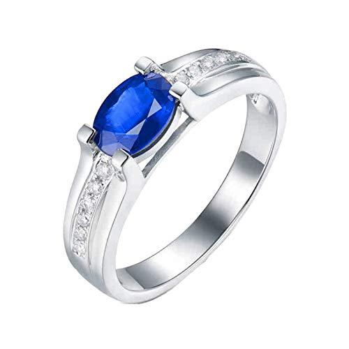Beydodo Anillos Boda Mujer,Anillos de Oro Blanco 18 Kilates Mujer Plata Azul Oval Zafiro Azul 1.65ct Diamante 0.1ct Talla 11(Circuferencia 51MM)