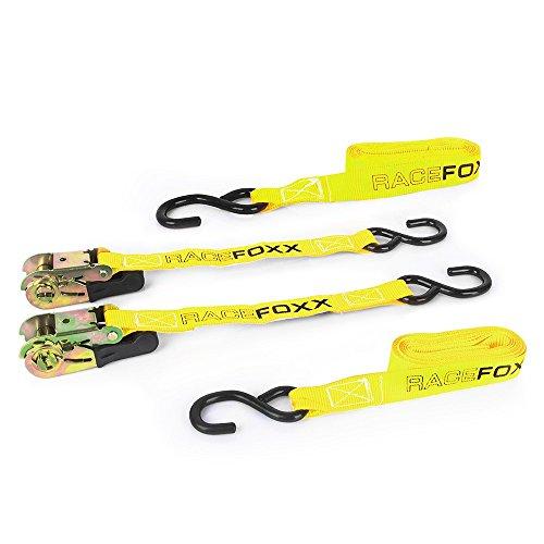 RACEFOXX Spanngurt Paar mit Ratsche, 500 cm Länge, Zurrgurt, Transportsicherung, Gurt für Motorrad, Motorradsicherung, Transport, Ladungssicherung