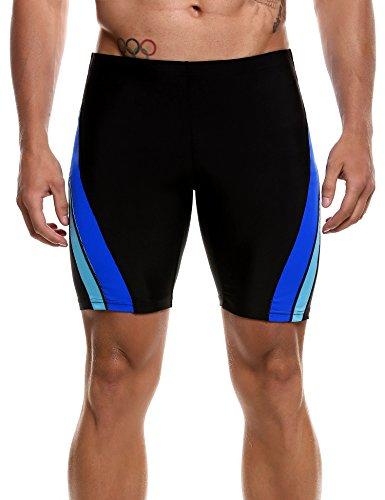 Hotouch Men's Swim Trunk Solid Swimming Brief Swimsuit for Men Fitness Swimwear Black/Blue 32