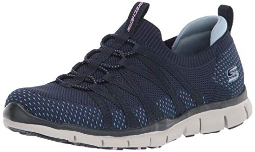 Skechers Damen GRATIS Sneaker, Navy Mesh Stretch Fit, 38 EU