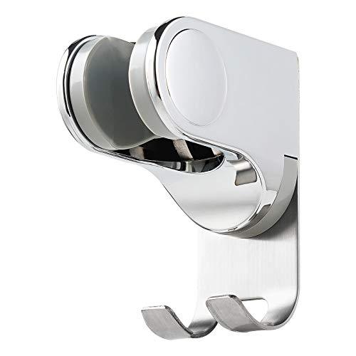 Adjustable Shower Head Holder Bracket with 2 Hanger Hooks, Adhesive Bathroom Handheld Shower Head Wall Mount, Shower Wand Holder, Bidet Sprayer Bracket Firmly than Suction Cups, No Tools Needed-Chrome
