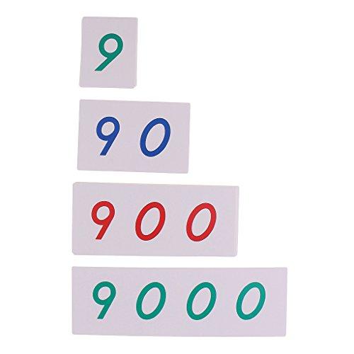FLAMEER Montessori 1-9000 Nummerkarten Zahlenkarten Set, Kinder Mathe Lernspiel