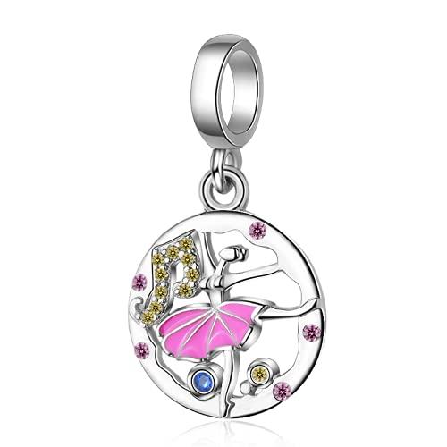 ZHANGCHEN Bailarina Erling Silver 925 Charms, Abalorios adecuados para Pulseras Pandora, joyería Cz Multicolor, Nueva colección