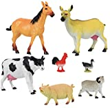 Click N' Play Jumbo Farm Animal Figurine Playset, Assorted 7Piece Realistically Designed Plastic Farm Animals for Kids & Toddlers