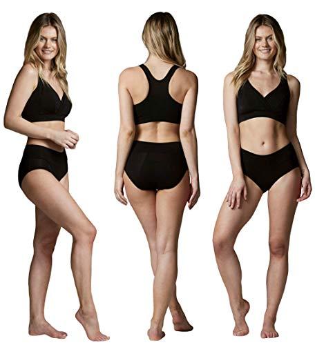 Bambody Schutzunterwäsche: spezielle saugfähige + auslaufsichere Menstruationswäsche | für tagsüber und für die Nacht (Large, 3 Pack: SCHWARZ)