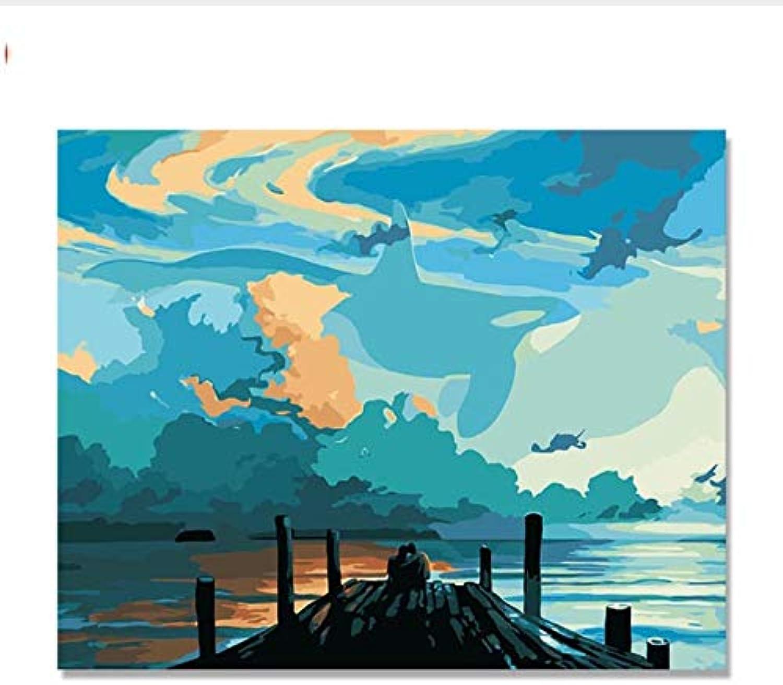CAYYOU DIY Landscape art, Lenovo, decorative painting, digital painting, family living room, bedroom sofa background, whale fairy tale, Framed, 50x60cm
