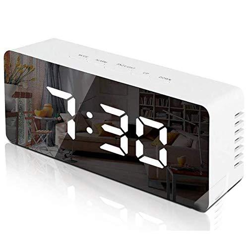 Atralife Reloj Despertador Digital, Despertadores Electrónicos Multifunción con Función Snooze, Luz de Nocturna Infantil, Espejo LED, Temperatura, USB Puertos, 2 Niveles de Brillo Ajustable