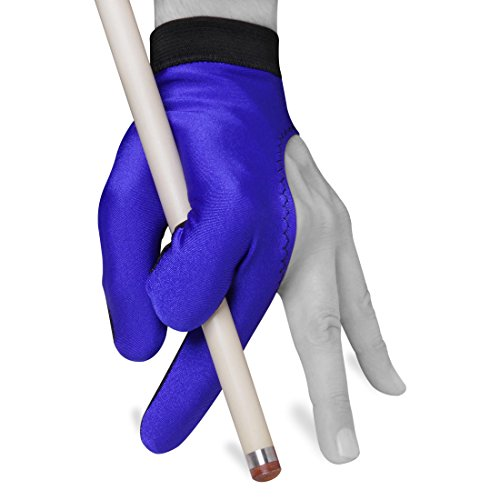 Billiard Pool Cue Glove by Fortuna - Classic Two-Colored - for Left Hand - Blue/Black (Small)