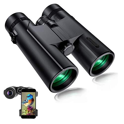 Prismáticos 12 x 42, HD, resistentes al agua, para adultos, con prismas BAK4 y lente FMC, incluye soporte para teléfono y trípode, para observación de aves, senderismo, caza y turismo
