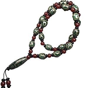 ZHIBO Tibetische Halskette mit Dzi-Perlen aus natürlichem Achat