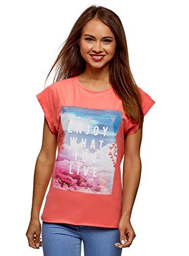 oodji Ultra Donna T-Shirt in Cotone con Stampa e Orlo Grezzo, Rosso, IT 42 / EU 38 / S